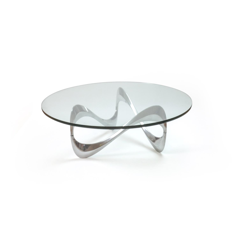Aluminum & Glass Snake Coffee Table by Knut Hesterberg for Ronald Schmitt, 1960s
