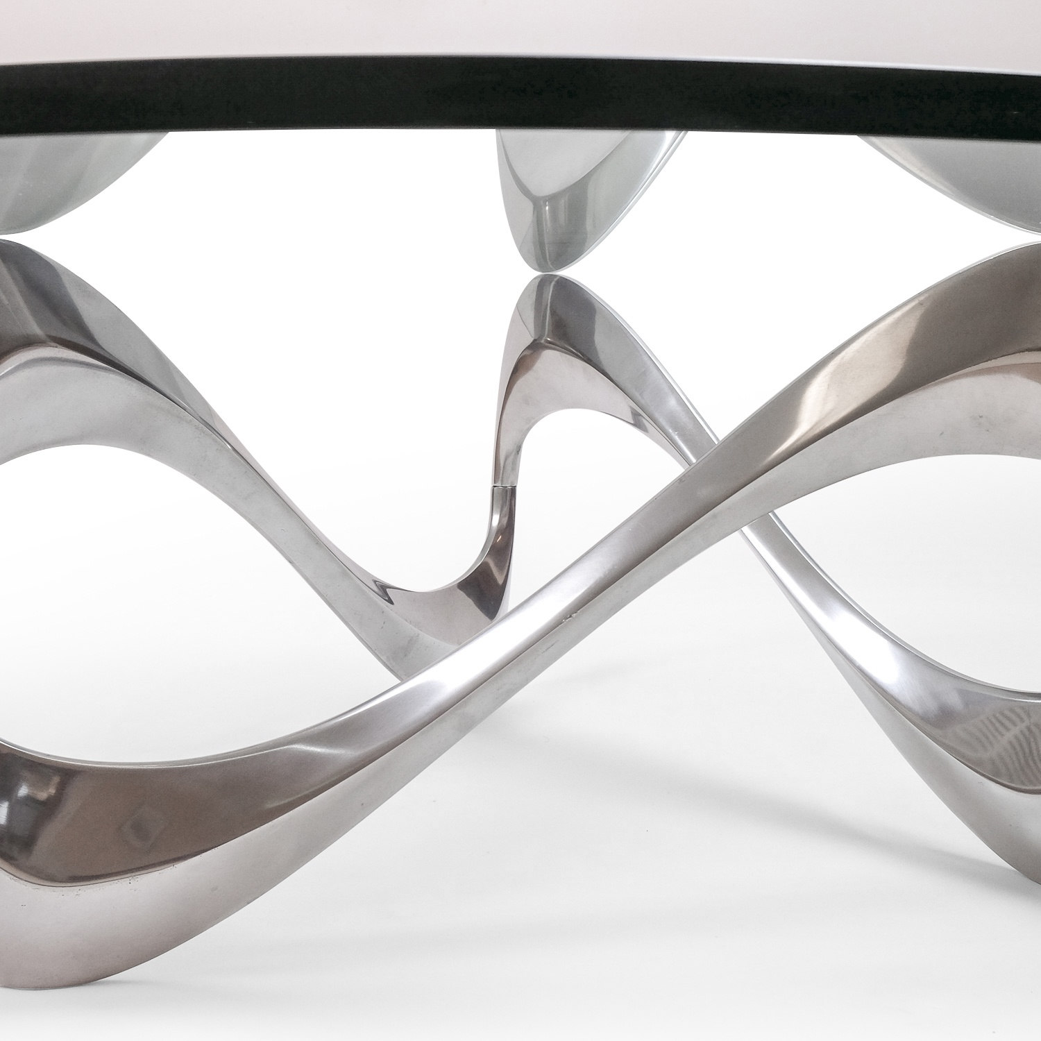 Aluminum & Glass Snake Coffee Table by Knut Hesterberg for Ronald Schmitt, 1960s