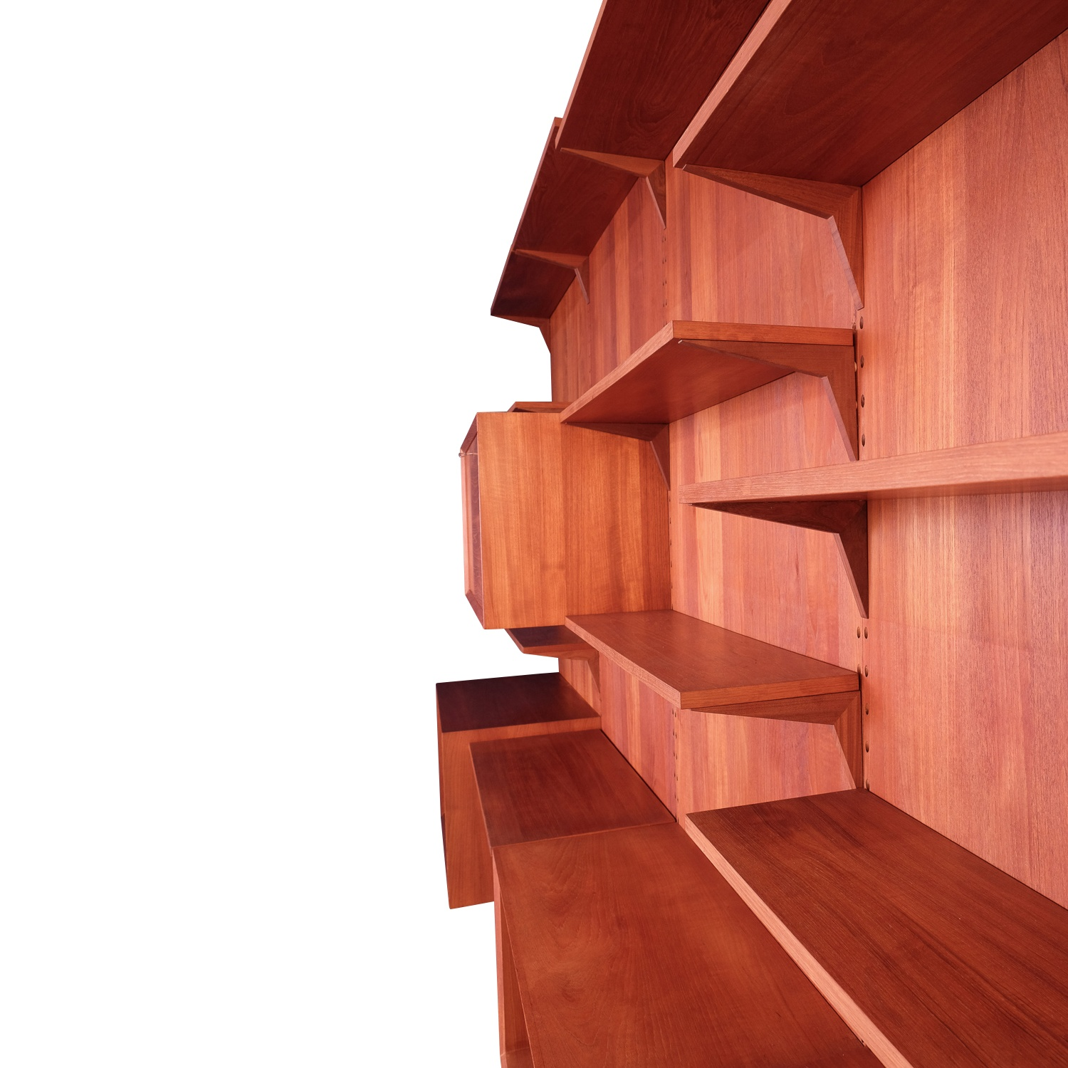 Poul Cadovius Large wall unit with panels in Teak. Global Shipping.