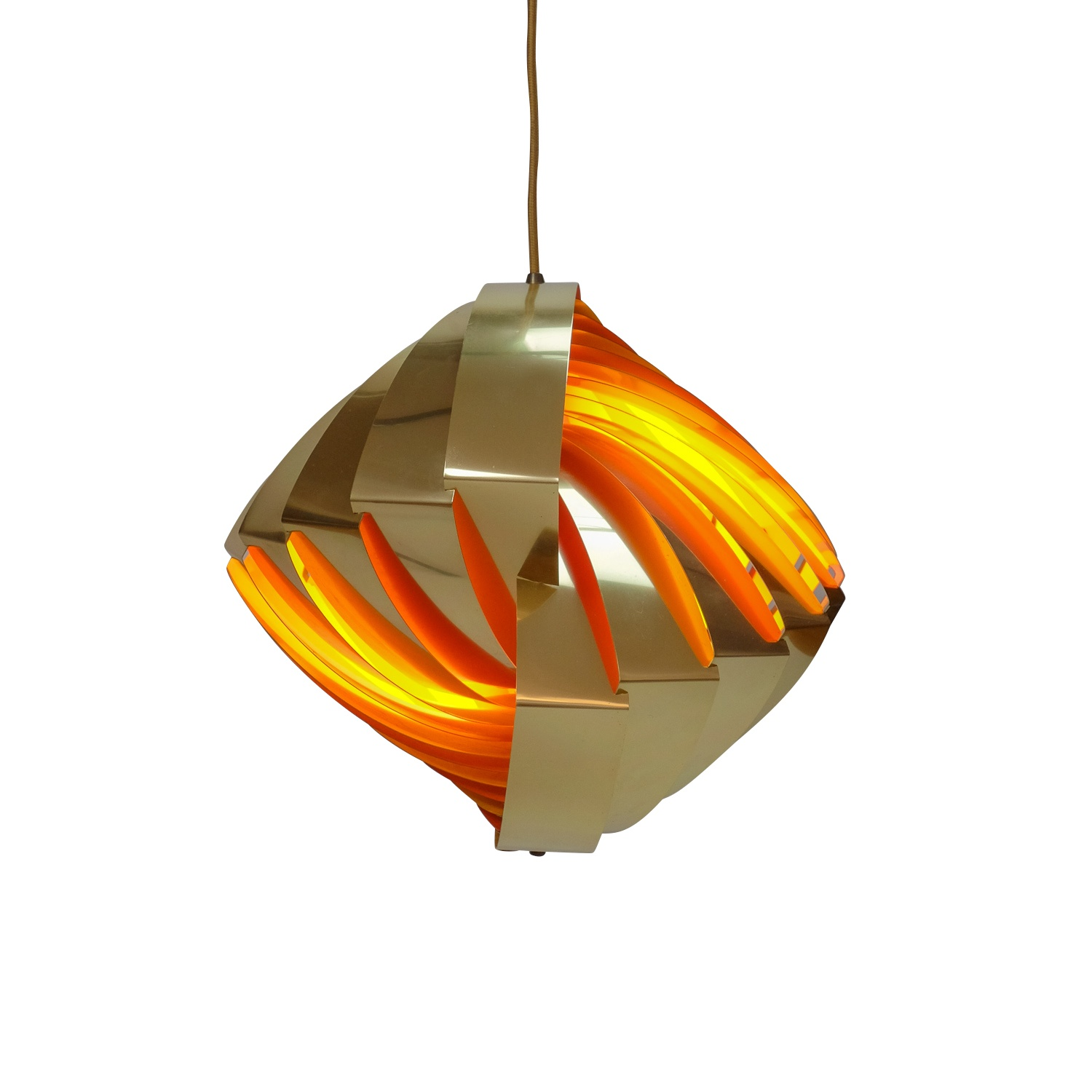 Gold & Orange Konkylie Pendant Lamp by Louis Weisdorf for Lyfa, 1960s
