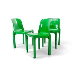 Vintage Artimide Selene Chairs in Green.