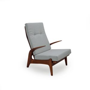 Vintage high back lounge chair in grey wool