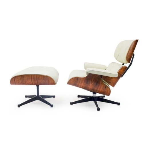 Vintage Eames Lounge Chair and ottoman in cream leather and rio palissander. Vintage mobilier Lausanne