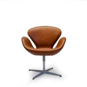 Fritz Hansen Elegance Leather Cognac, Swan Chair by Arne Jacobsen. Symple Design Copyright 2019