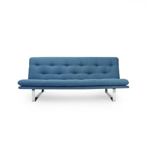 Vintage Blue upholstered sofa for Artifort by Kho Liang ie. Mobilier Design Suisse