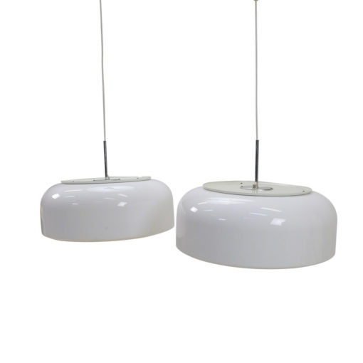 White Pendant Lamp Pair, vintage Swedish design for sale at Symple Design Mobilier Vintage