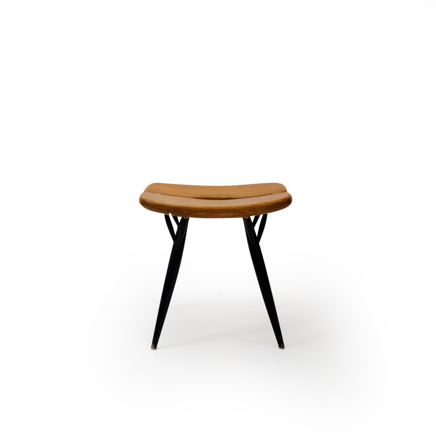 Vintage Pine Stool by Asko, black legs, 1950s