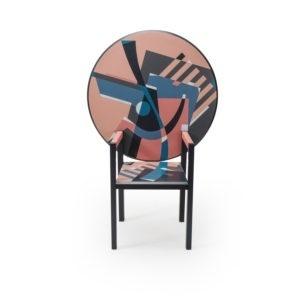 Memphis Post modern Mendini Chair Table, Edition Divisione Nuova Alchimea