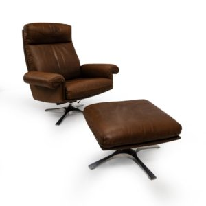 DS-31 Vintage Aniline Leather Lounge Chair in brown, by De Sede 1970s