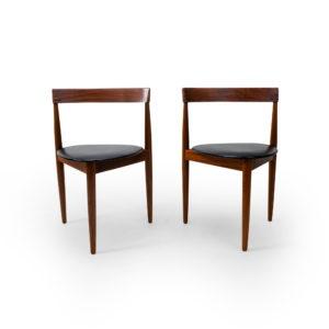 Vintage Danish Teak Side Chairs for Frem Rojle by Olsen, three legged.