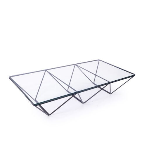 1980s Glass top coffee table metal base, vintage