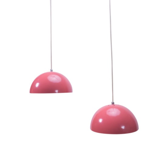 Vintage Pair Pink Ceiling Lamps