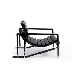 Eileen Gray Black wood and Leather Lounge Chair, Transat 1980s, Ecart International