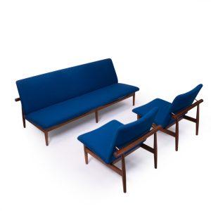 Finn Juhl Japan Lounge set, Blue wool and teak. For France and Son Denmark