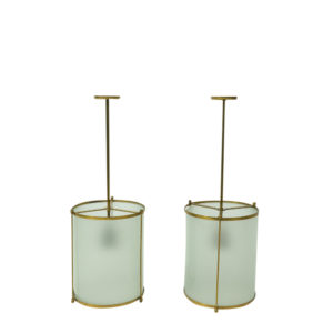 Vintage Brass Glass pendants 1940s