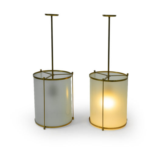 Vintage Brass Glass pendants 1940s