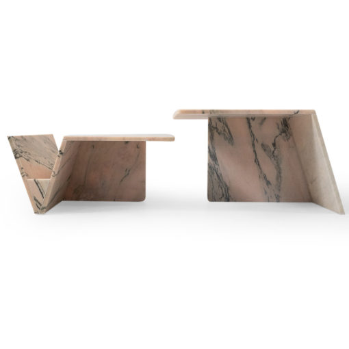 Vintage Pink Marble coffee tables from the 1980s