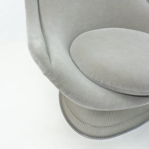 Knoll Metal Platner Chair Grey Velvet