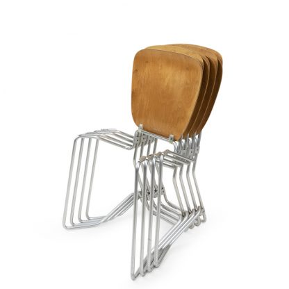 Stackable Swiss Design Wood metal dining chairs, Wirth