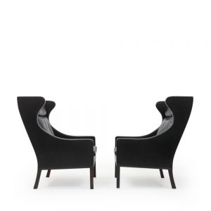 Black Leather Lounge Club Chairs by Borge Mogensen, vintage