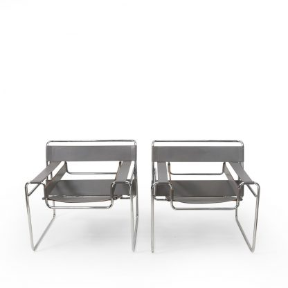 Marcel Breuer Wassily Armchair by Knoll in Grey Leather vintage