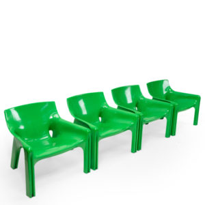 Vico Magistretti Green Vicario Lounge Chairs vintage set