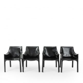 Black Leather Cassina CAB Chairs vintage by Mario Bellini