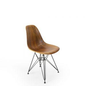 Herman Miller Eames Rosewood Shell Sidechair, eifel base metal black