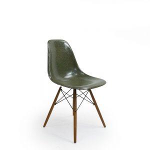 Green Vintage Sidechair by Eames For Herman Miller wood dowel base