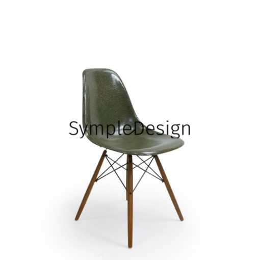 Green Vintage Sidechair by Eames For Herman Miller wood dowel base