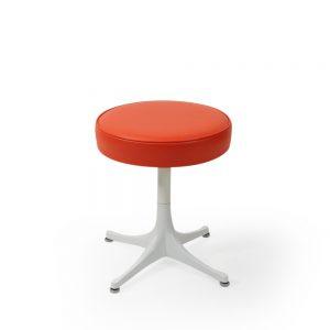 George Nelson orange seat pedestal stool vintage series