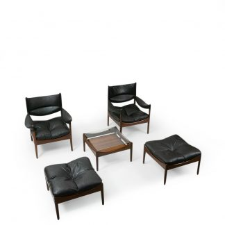 Kristian Vedel Rosewood Lounge Set Black leather vintage
