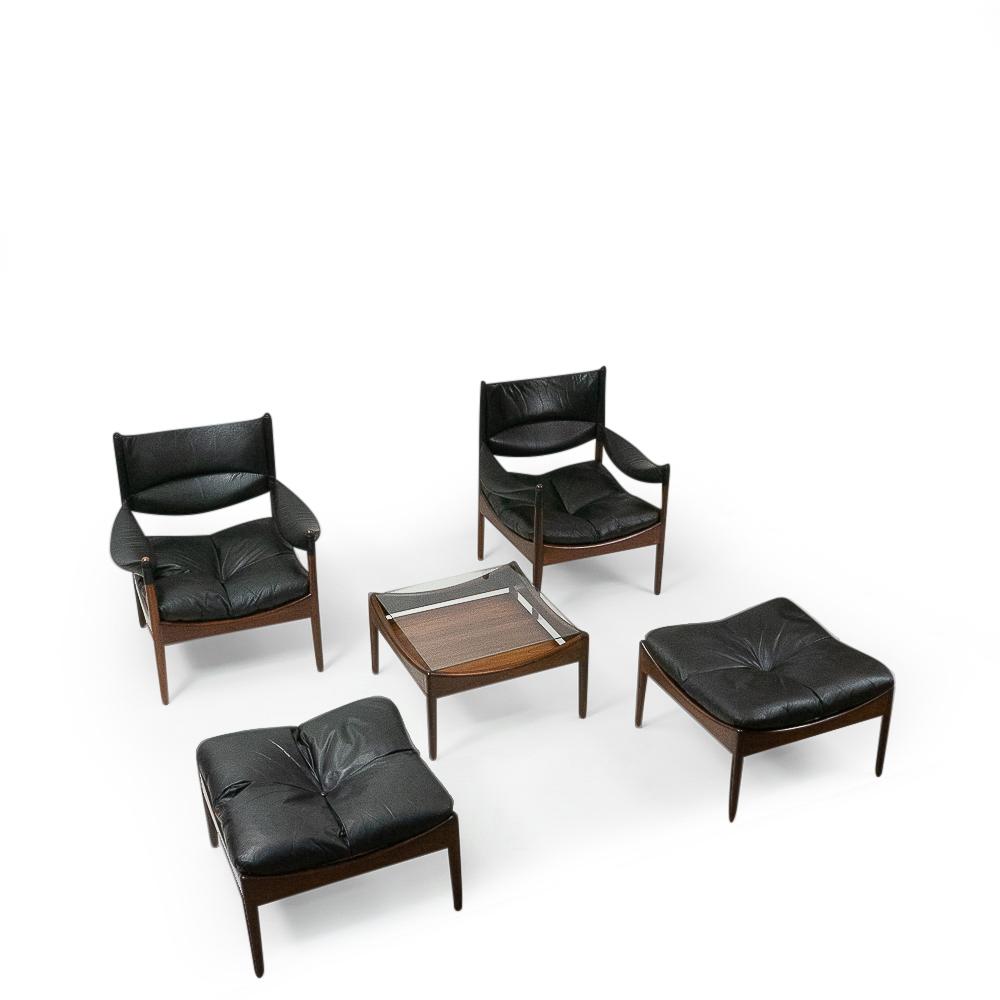 Kristian Vedel Rosewood Lounge Set Black leather vintage