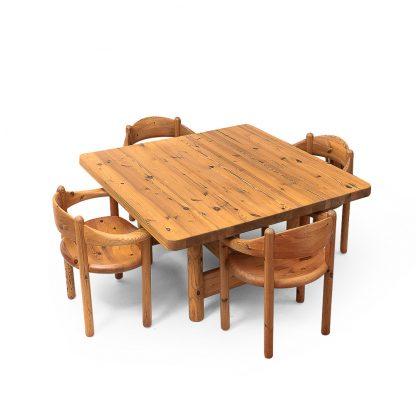 Rainer Daumiller Pinewood Furniture Table and Chairs VintageRainer Daumiller Pinewood Furniture Table and Chairs Vintage