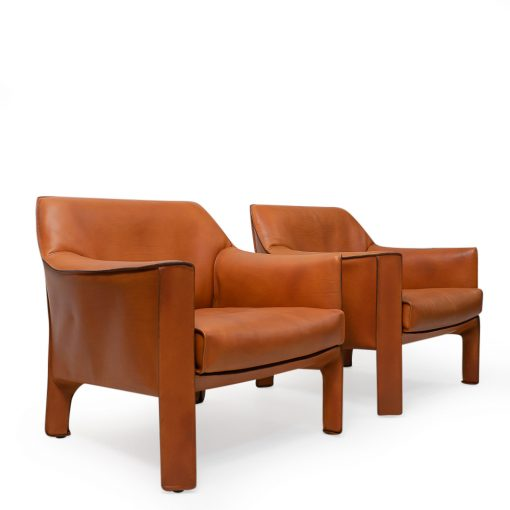 Mario Bellini CAB Lounge Set in Brown Leather for Cassina