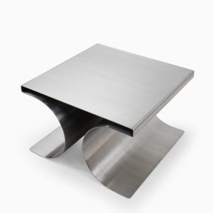 X Stool by French Decorator Michel Boyer from the 1970s, stainless steel