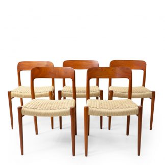 Vintage Niels Moller Chairs in new papercord weaving teak