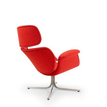 Pierre Paulin Cross Base Big tulip chair new red woolen upholstery